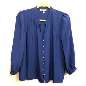 Cobalt Blue Deep V Silk Blouse